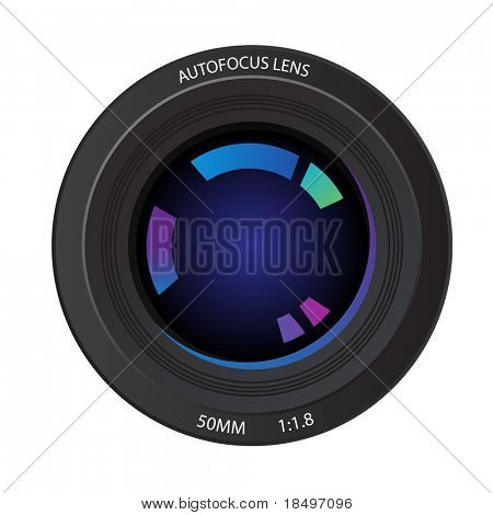 Raster - Illustration of a 50mm camera lens from the front element showing various reflected colors