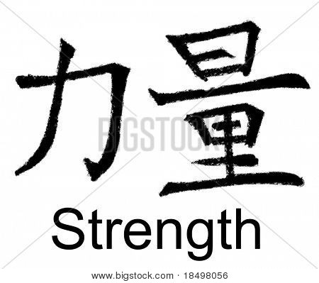 Chinese characters for power, strength, force, original artwork