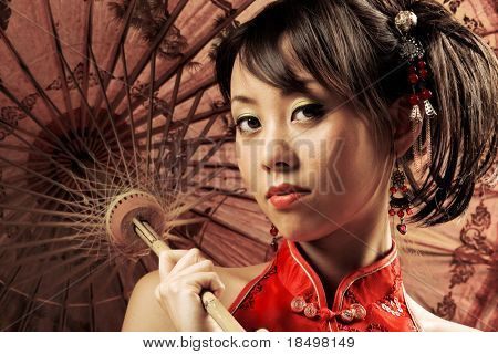 Portrait of a Chinese beauty holding a parasol