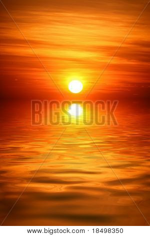 Sun rising from ocean into sky, empty composition