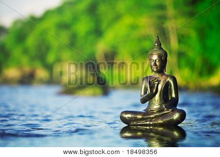 Buddah statue in blue ocean with green trees in background