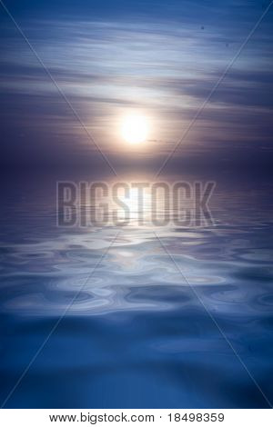 Full moon rises over large body of water, empty composition