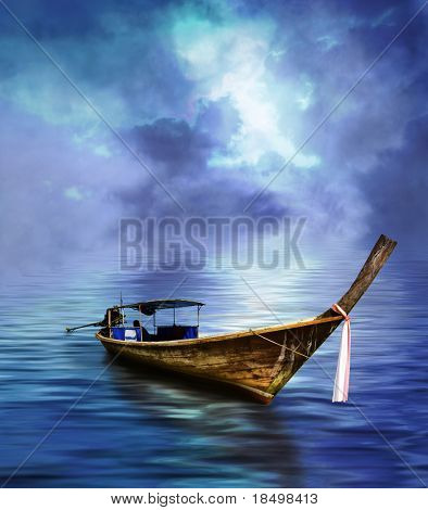 Long tailed boat in tropical Asian paradise (Thailand)