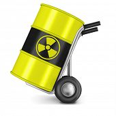 barrel with radio active waste nuclear power station waiste dangerous hazard of gamma radiation radi