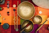 Tibetan Singing Bowl, Sound Instrument,  Color Image, Toned Inage, poster