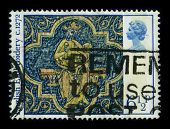 UNITED KINGDOM - CIRCA 1972: A stamp shows image of the dedicated to the English embroidery includes