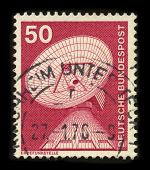 GERMANY-CIRCA 1976:A stamp printed in Germany shows image of the An earth station, ground station, o