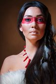 stock photo of american indian  - American Indian with paint face camouflage  - JPG