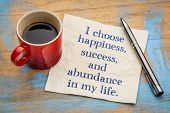 I choose happiness, success and abundance in my life - inspirational handwriting on a napkin with a  poster