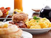 stock photo of scrambled eggs  - huge breakfast - JPG