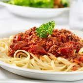 picture of pasta  - spaghetti pasta with tomato beef sauce - JPG