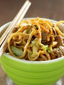 image of lo mein  - beef lo mein in a bowl with chopsticks - JPG