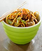 stock photo of lo mein  - beef lo mein in a bowl with chopsticks - JPG