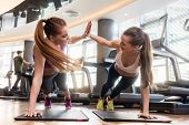 Two young and determined beautiful women giving high five while practicing basic plank exercise on m poster
