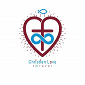 True Infinite Christian Love And Belief In God, Vector Creative Symbol Design, Combined With Infinit poster