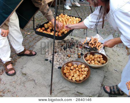 Cocina al aire libre de estilo medieval