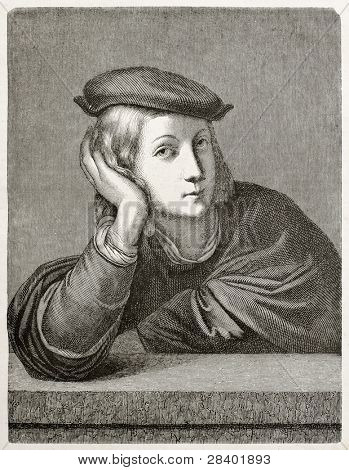 Man portrait. After painting by Raphael kept in Louvre museum, published on Magasin Pittoresque, Paris, 1845