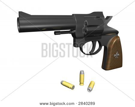 Handgun Facing Out With Ammo