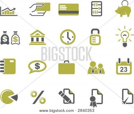 Banks And Business Icons Set