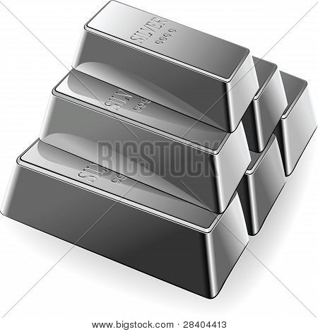 Vector Set Of Silver Bars