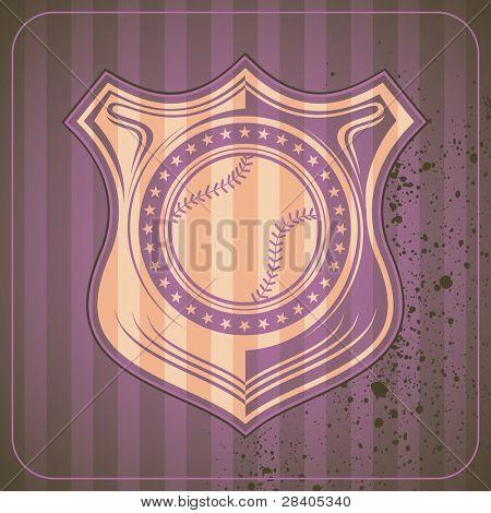 Illustrated baseball crest. Vector illustration.