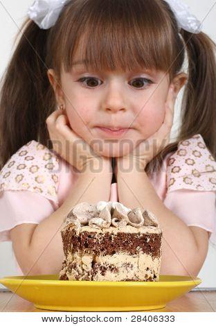 Child Girl And Cake