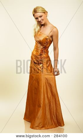 Attractive Young Woman In Evening Dress. Portrait.