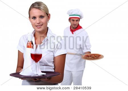 Young people working in a restaurant