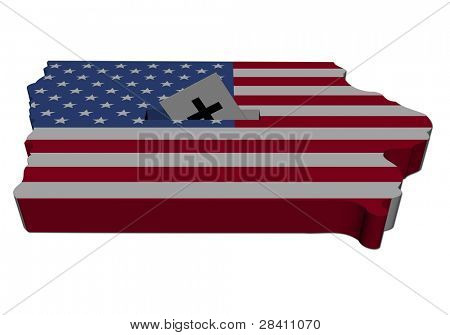 Iowa Caucus mit Karte Flagge illustration