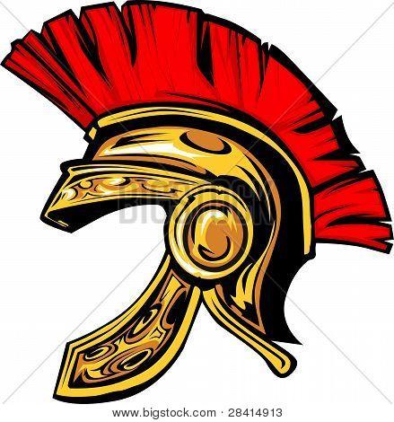 Spartan Trojan Helm Maskottchen Vektorbild.