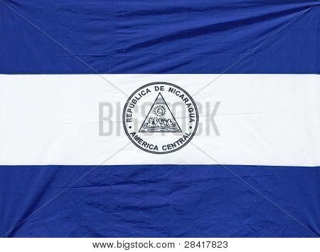 Wrinkled Nicaraguan Flag
