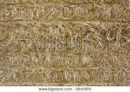 Close-Up Of Baled Wheat Straw