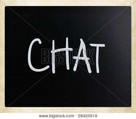 "The Word ""chat"" Handwritten With White Chalk On A Blackboard"