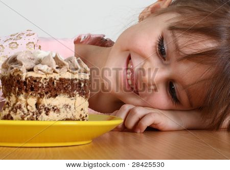Little Girl And Cake