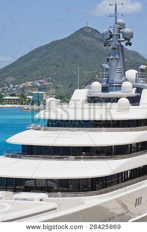 Decks Of Luxury Yacht At Tropical Port
