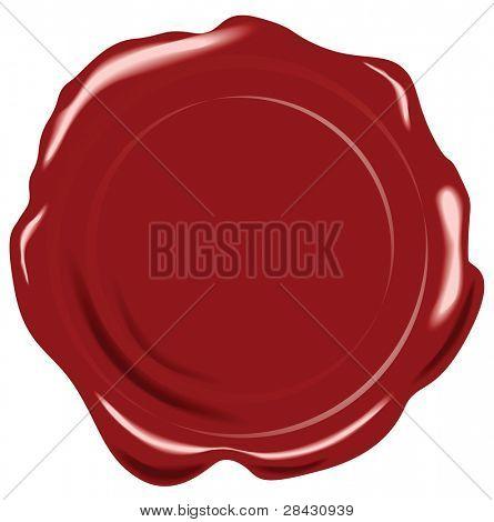 Sello de cera de vector rojo sobre fondo blanco