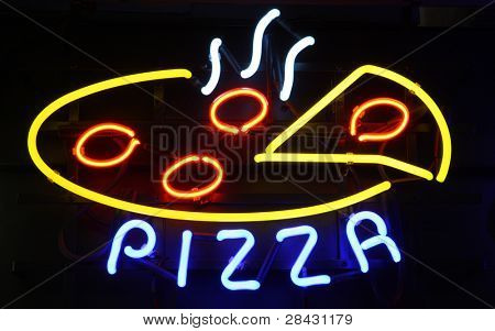 Neon Pizza Sign on Black, Copy Space