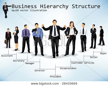 Business Hierarchy Structure, Vector of diverse business people depicting ranks from president through secretary for admin and president through buyer for retail.