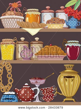 Shelves of a buffet with jars of homemade jams, bakery, teapot, teacups and gold russian samovar
