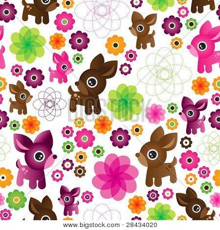 Seamless flower deer pattern illustration background in vector