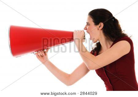 Mujer y megáfono