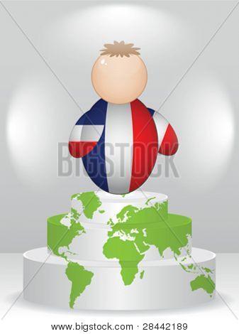 french buddy on podium
