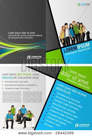 Green, blue and gray template for advertising brochure with business people