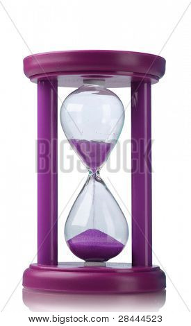 Purple hourglass isolated on white