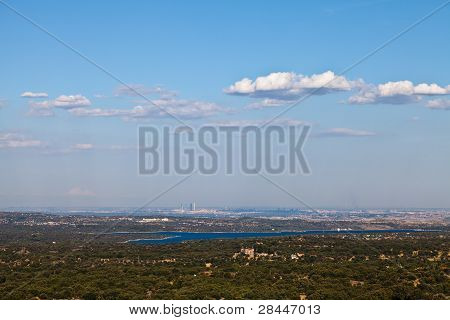 View Of Madrid, Spain From Silla De Felipe Ii In San Lorenzo De El Escorial