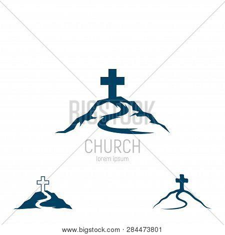 poster of Abstract Christian Cross Logo Vector Template. Church Logo.