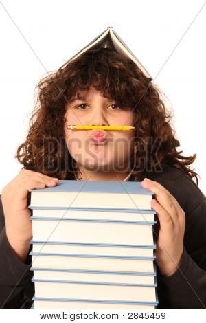 Boy With Pencil And Books