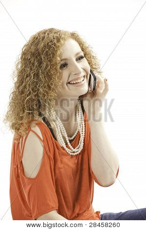 Pretty Teen On Cell Phone