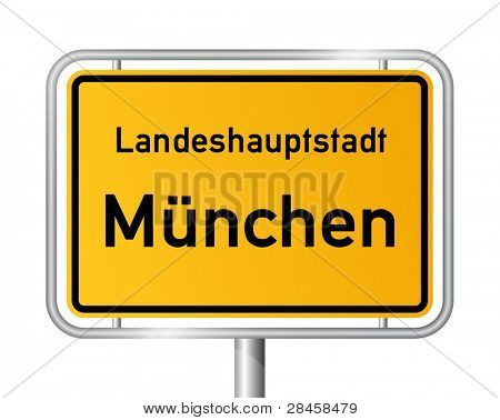 City limit sign MUNICH / MÜNCHEN against white background