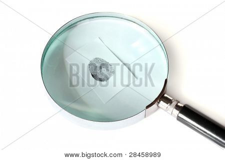 Magnifying glass and fingerprint isolated on white